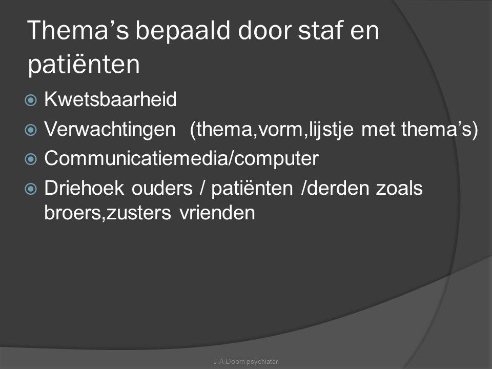 Thema's bepaald door staf en patiënten  Kwetsbaarheid  Verwachtingen (thema,vorm,lijstje met thema's)  Communicatiemedia/computer  Driehoek ouders