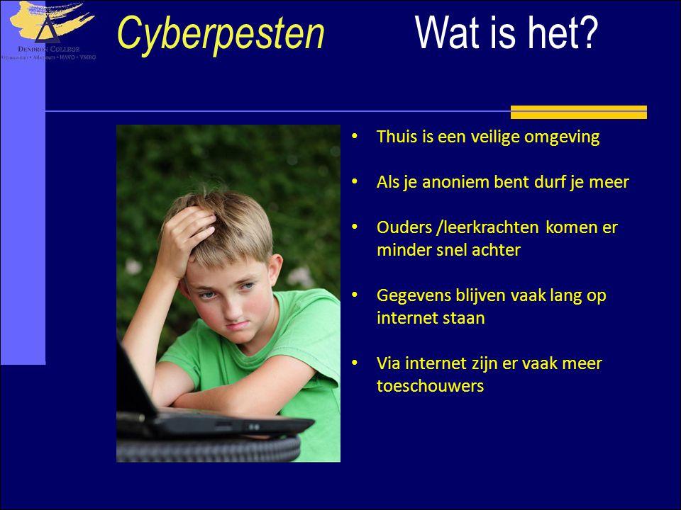 Wat is het? Cyberpesten Thuis is een veilige omgeving Als je anoniem bent durf je meer Ouders /leerkrachten komen er minder snel achter Gegevens blijv