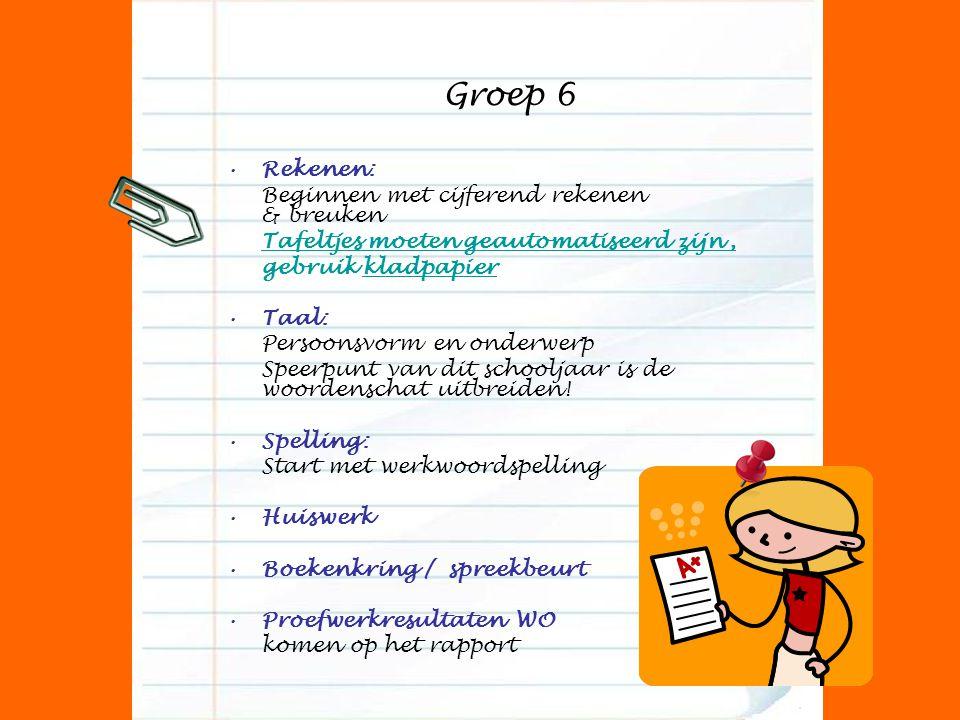 Groep 6 Rekenen: Beginnen met cijferend rekenen & breuken Tafeltjes moeten geautomatiseerd zijn, gebruik kladpapier Taal: Persoonsvorm en onderwerp Sp
