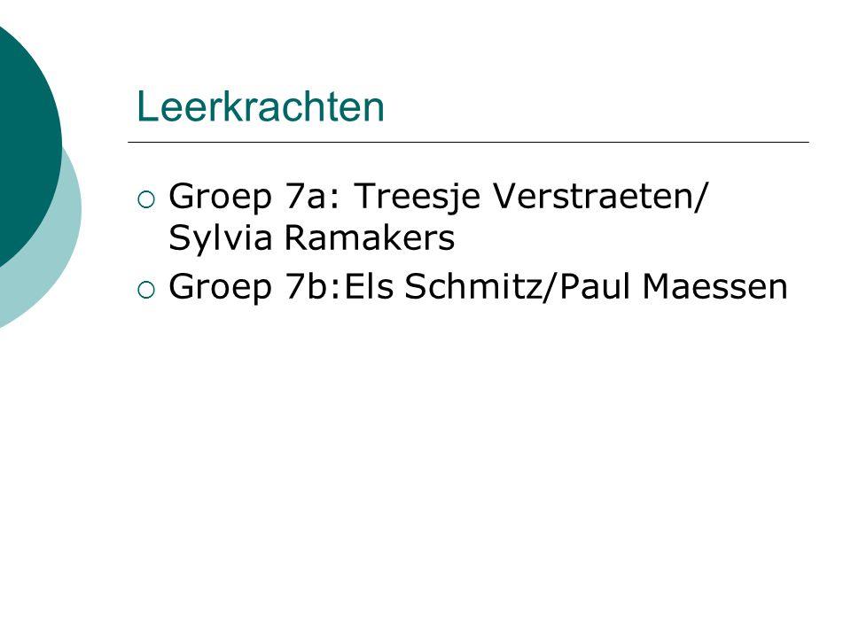 Leerkrachten  Groep 7a: Treesje Verstraeten/ Sylvia Ramakers  Groep 7b:Els Schmitz/Paul Maessen