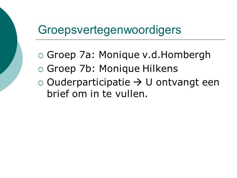 Groepsvertegenwoordigers  Groep 7a: Monique v.d.Hombergh  Groep 7b: Monique Hilkens  Ouderparticipatie  U ontvangt een brief om in te vullen.
