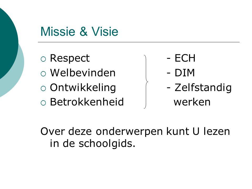 Missie & Visie  Respect- ECH  Welbevinden- DIM  Ontwikkeling- Zelfstandig  Betrokkenheid werken Over deze onderwerpen kunt U lezen in de schoolgid