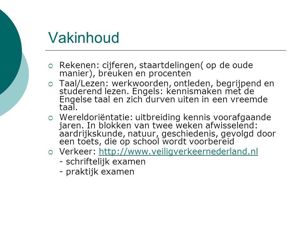 Vakinhoud  Rekenen: cijferen, staartdelingen( op de oude manier), breuken en procenten  Taal/Lezen: werkwoorden, ontleden, begrijpend en studerend l
