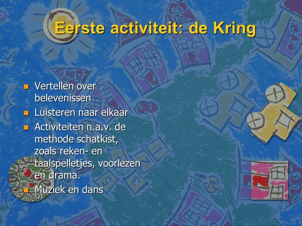 Eerste activiteit: de Kring n Vertellen over belevenissen n Luisteren naar elkaar n Activiteiten n.a.v. de methode schatkist, zoals reken- en taalspel