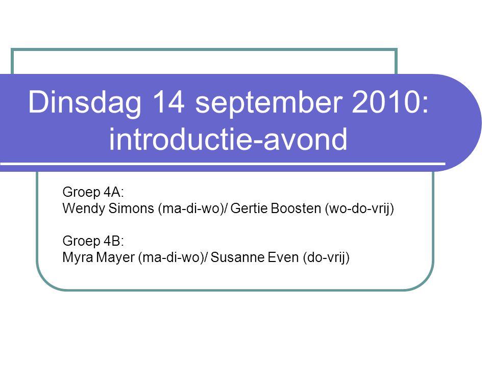 Dinsdag 14 september 2010: introductie-avond Groep 4A: Wendy Simons (ma-di-wo)/ Gertie Boosten (wo-do-vrij) Groep 4B: Myra Mayer (ma-di-wo)/ Susanne Even (do-vrij)