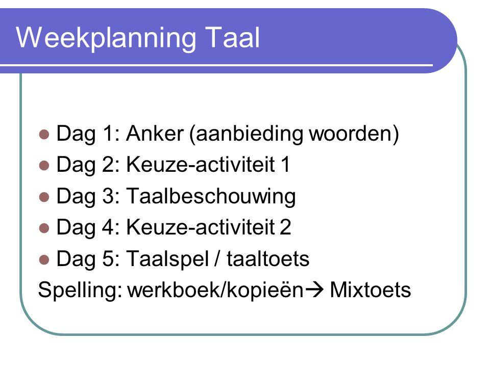 Weekplanning Taal Dag 1: Anker (aanbieding woorden) Dag 2: Keuze-activiteit 1 Dag 3: Taalbeschouwing Dag 4: Keuze-activiteit 2 Dag 5: Taalspel / taaltoets Spelling: werkboek/kopieën  Mixtoets