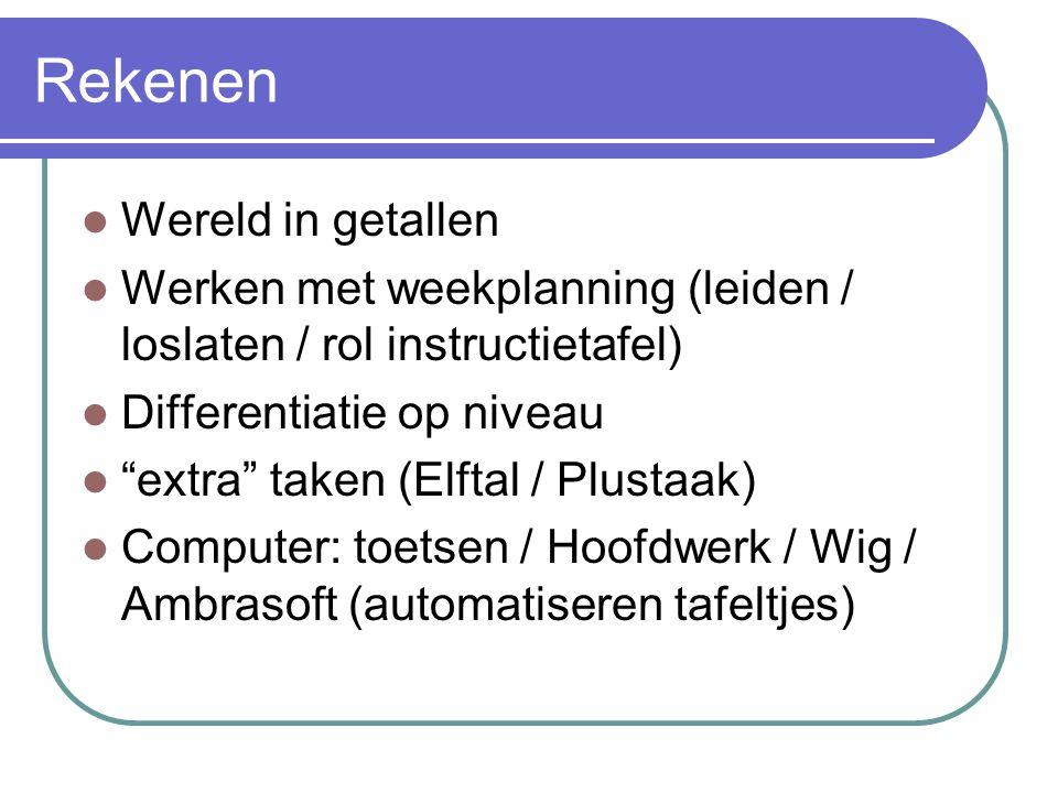 Rekenen Wereld in getallen Werken met weekplanning (leiden / loslaten / rol instructietafel) Differentiatie op niveau extra taken (Elftal / Plustaak) Computer: toetsen / Hoofdwerk / Wig / Ambrasoft (automatiseren tafeltjes)