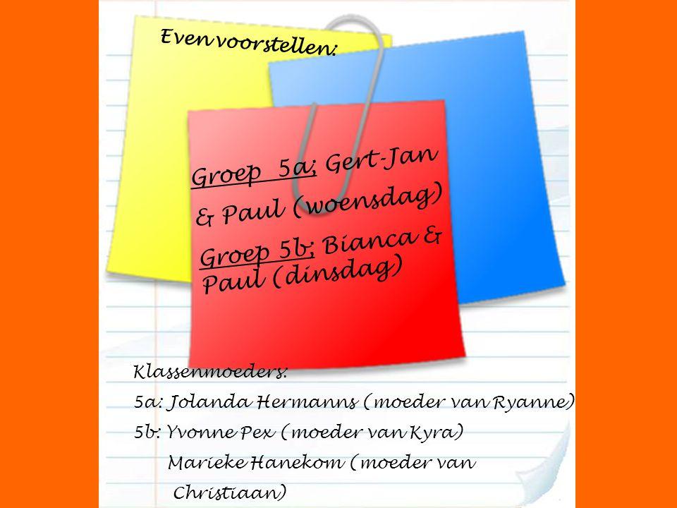 Groep 5a; Gert-Jan & Paul (woensdag) Groep 5b; Bianca & Paul (dinsdag) Klassenmoeders: 5a: Jolanda Hermanns (moeder van Ryanne) 5b: Yvonne Pex (moeder van Kyra) Marieke Hanekom (moeder van Christiaan) Even voorstellen: