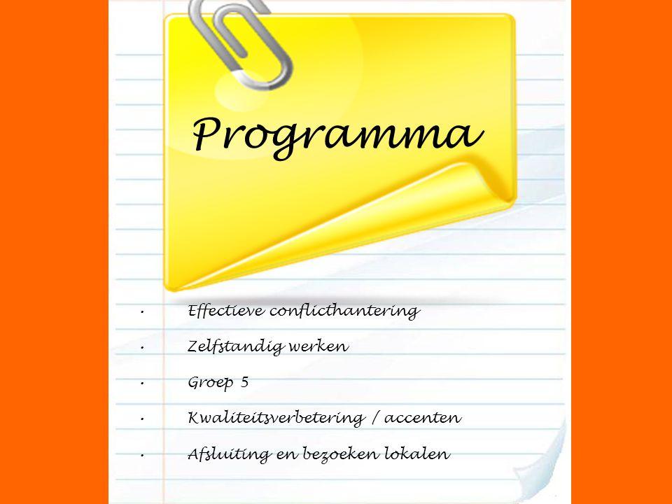 Programma Effectieve conflicthantering Zelfstandig werken Groep 5 Kwaliteitsverbetering / accenten Afsluiting en bezoeken lokalen