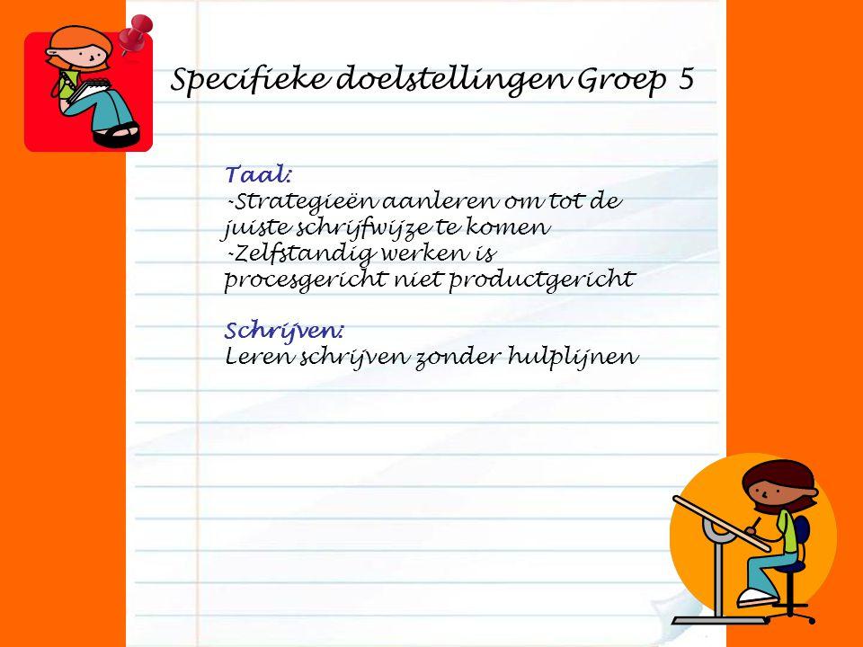 Specifieke doelstellingen Groep 5 Taal: -Strategieën aanleren om tot de juiste schrijfwijze te komen -Zelfstandig werken is procesgericht niet productgericht Schrijven: Leren schrijven zonder hulplijnen