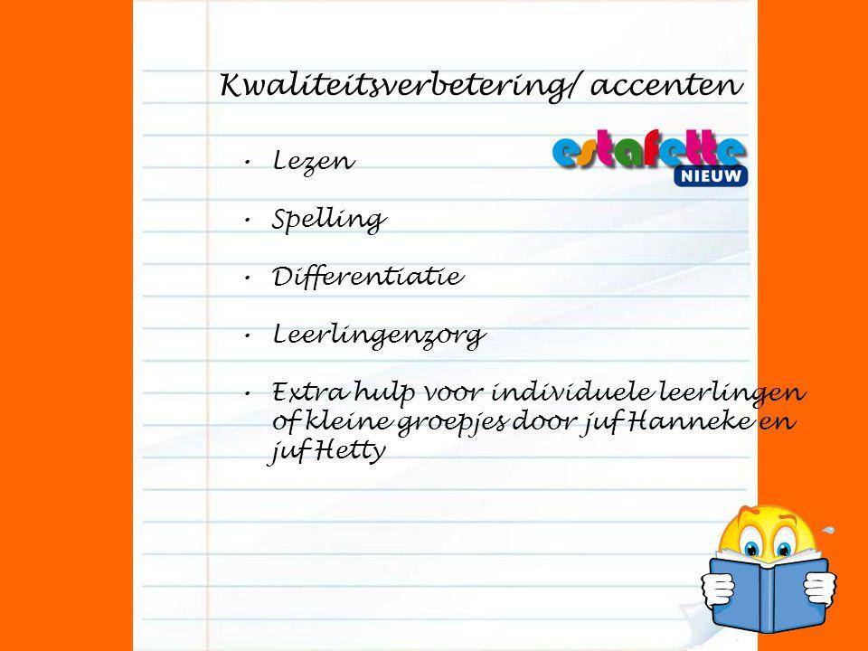 Kwaliteitsverbetering/ accenten Lezen Spelling Differentiatie Leerlingenzorg Extra hulp voor individuele leerlingen of kleine groepjes door juf Hanneke en juf Hetty