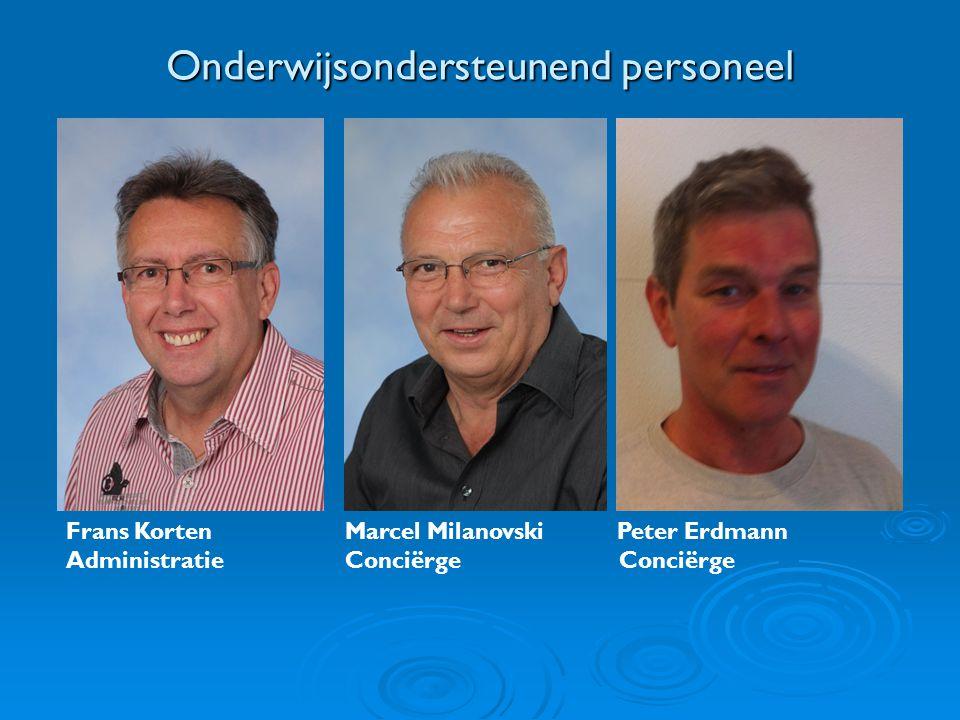 Onderwijsondersteunend personeel Frans Korten Marcel Milanovski Peter Erdmann Administratie Conciërge Conciërge