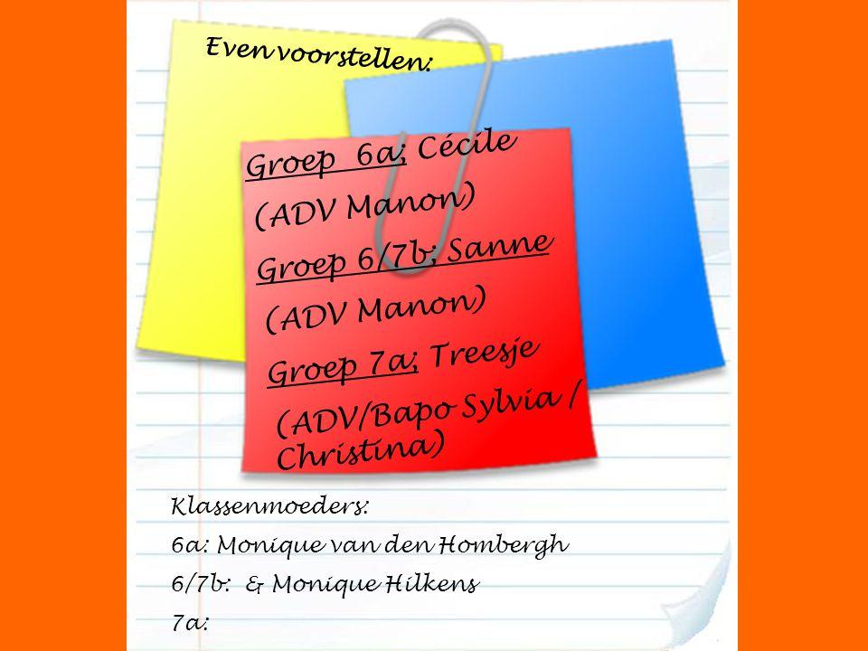 Groep 6a; Cécile (ADV Manon) Groep 6/7b; Sanne (ADV Manon) Groep 7a; Treesje (ADV/Bapo Sylvia / Christina) Klassenmoeders: 6a: Monique van den Hombergh 6/7b: & Monique Hilkens 7a: Even voorstellen: