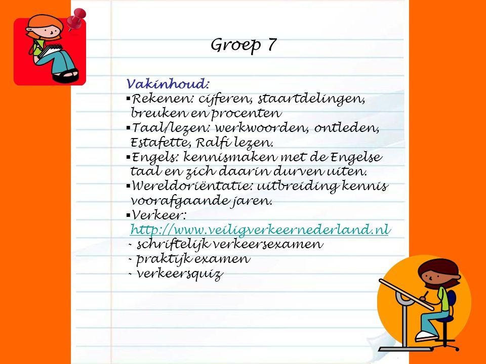 Groep 7 Vakinhoud:  Rekenen: cijferen, staartdelingen, breuken en procenten  Taal/lezen: werkwoorden, ontleden, Estafette, Ralfi lezen.