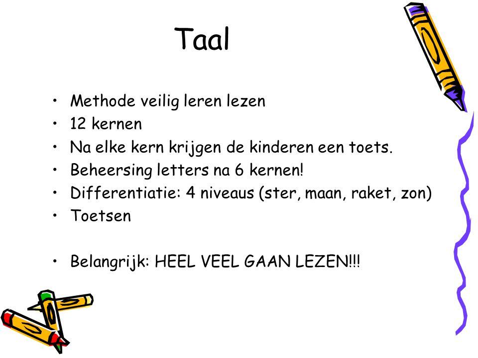 Taal Methode veilig leren lezen 12 kernen Na elke kern krijgen de kinderen een toets. Beheersing letters na 6 kernen! Differentiatie: 4 niveaus (ster,