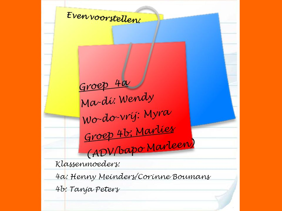 Groep 4a Ma-di: Wendy Wo-do-vrij: Myra Groep 4b; Marlies (ADV/bapo Marleen) Klassenmoeders: 4a: Henny Meinders/Corinne Boumans 4b: Tanja Peters Even v