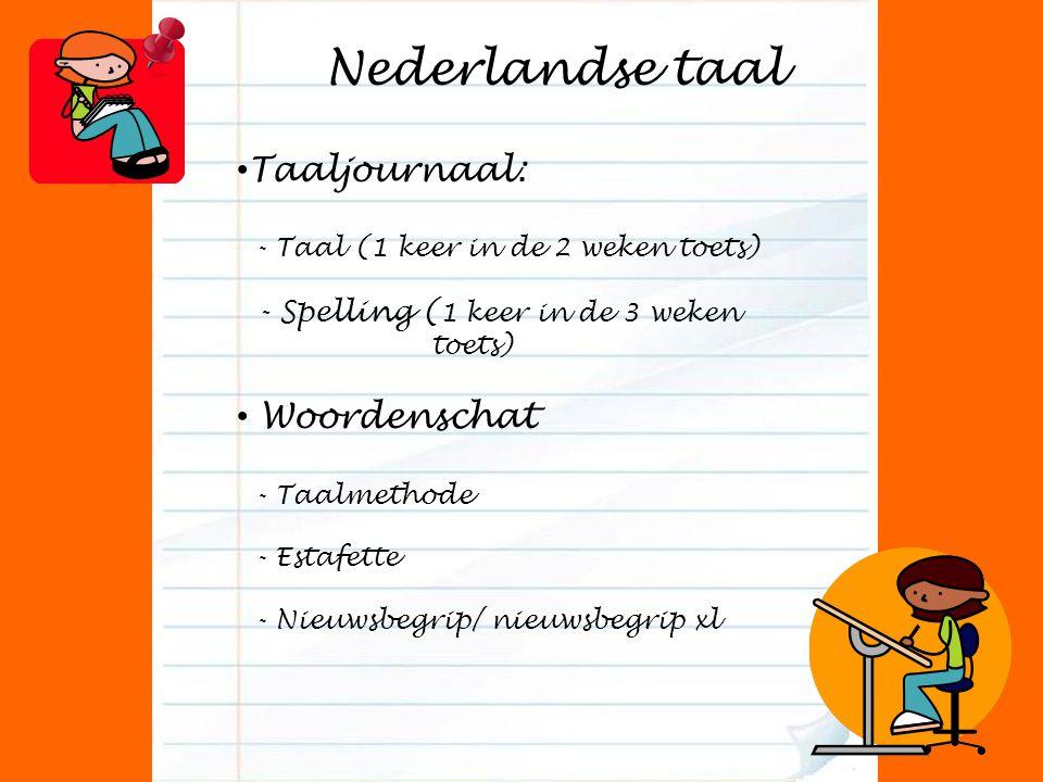 Nederlandse taal Taaljournaal: - Taal (1 keer in de 2 weken toets) - Spelling ( 1 keer in de 3 weken toets) Woordenschat - Taalmethode - Estafette - N