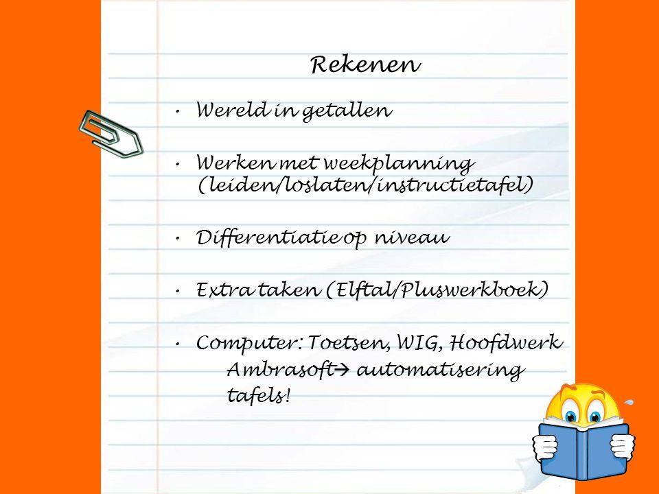 Rekenen Wereld in getallen Werken met weekplanning (leiden/loslaten/instructietafel) Differentiatie op niveau Extra taken (Elftal/Pluswerkboek) Comput