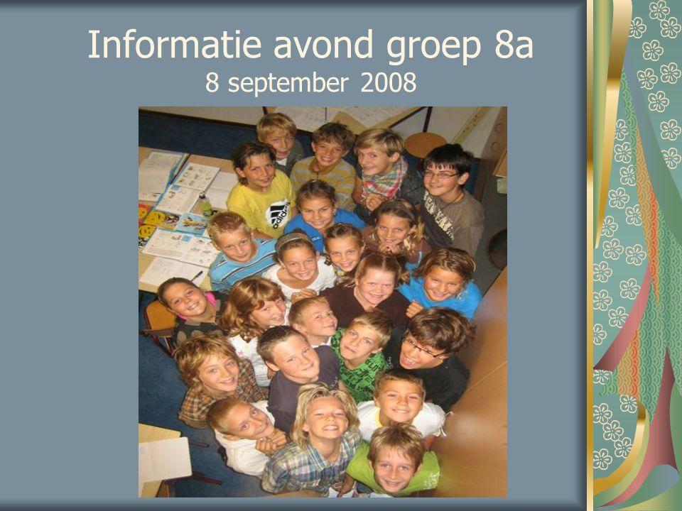 Informatie avond groep 8a 8 september 2008