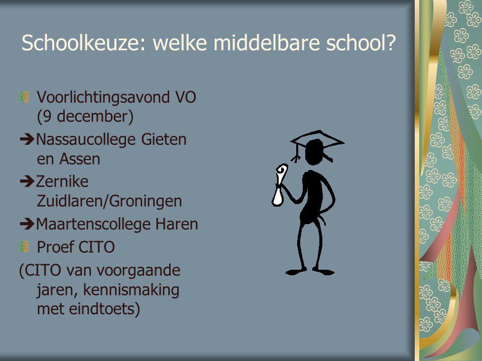 Schoolkeuze: welke middelbare school? Voorlichtingsavond VO (9 december)  Nassaucollege Gieten en Assen  Zernike Zuidlaren/Groningen  Maartenscolle