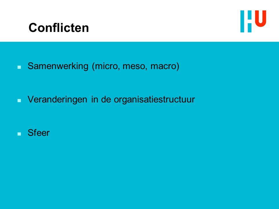 Conflicten n Samenwerking (micro, meso, macro) n Veranderingen in de organisatiestructuur n Sfeer