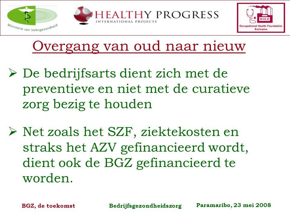 Paramaribo, 23 mei 2008 BGZ, de toekomst Bedrijfsgezondheidszorg Overgang van oud naar nieuw  De bedrijfsarts dient zich met de preventieve en niet met de curatieve zorg bezig te houden  Net zoals het SZF, ziektekosten en straks het AZV gefinancieerd wordt, dient ook de BGZ gefinancieerd te worden.
