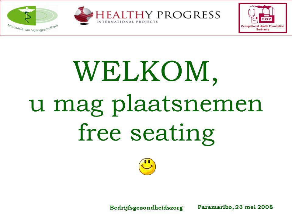 Paramaribo, 23 mei 2008 Bedrijfsgezondheidszorg WELKOM, u mag plaatsnemen free seating
