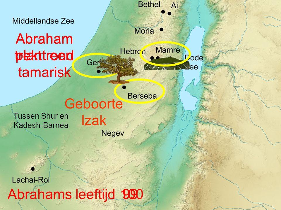 Tussen Shur en Kadesh-Barnea Abraham trekt rond Abrahams leeftijd99 Geboorte Izak 100 Abraham plant een tamarisk