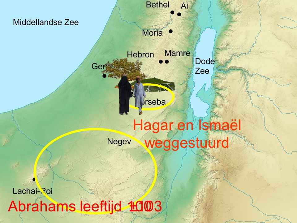 Hagar en Ismaël weggestuurd Abrahams leeftijd±103100