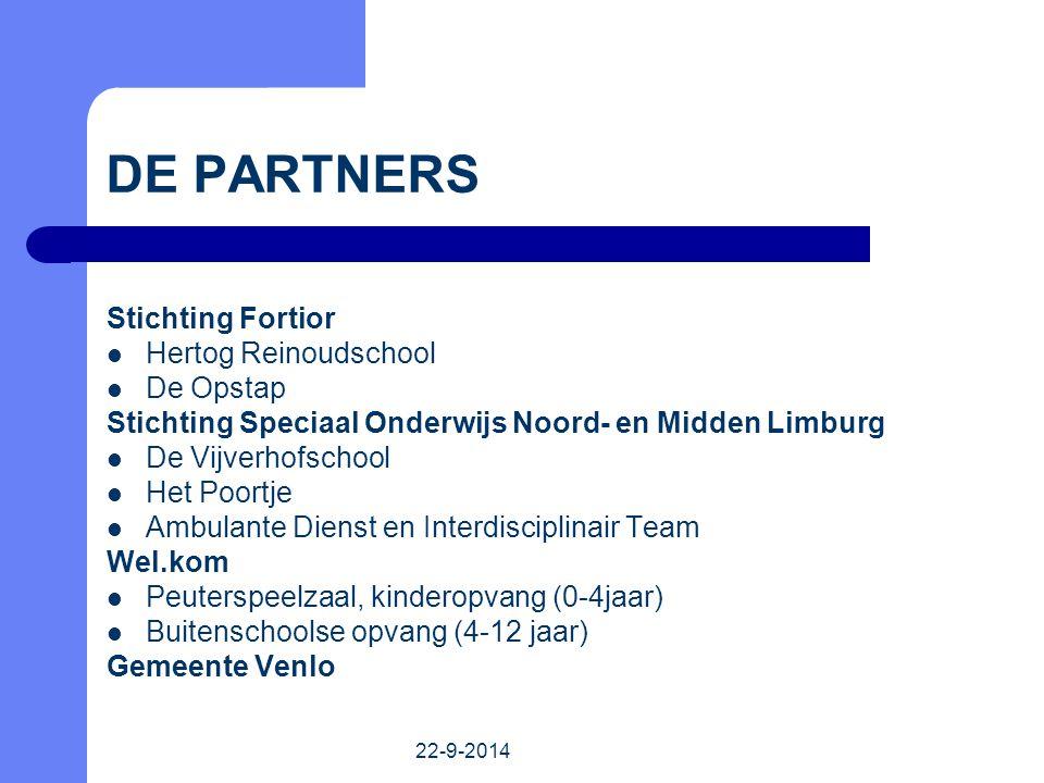 22-9-2014 Stichting Fortior Hertog Reinoudschool De Opstap Stichting Speciaal Onderwijs Noord- en Midden Limburg De Vijverhofschool Het Poortje Ambula