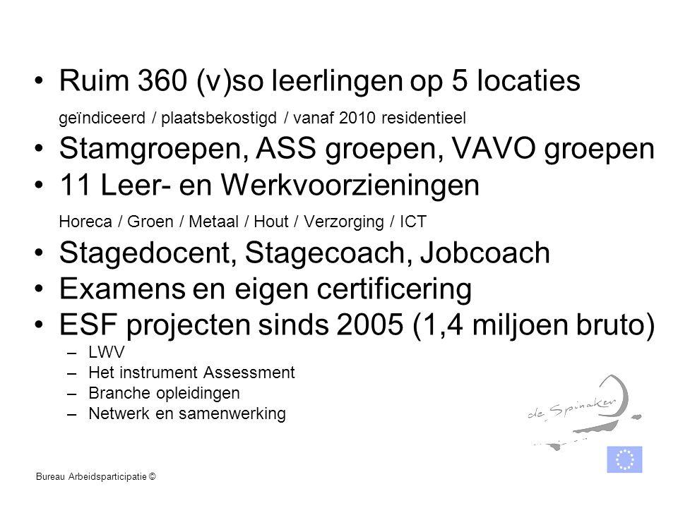 Ruim 360 (v)so leerlingen op 5 locaties geïndiceerd / plaatsbekostigd / vanaf 2010 residentieel Stamgroepen, ASS groepen, VAVO groepen 11 Leer- en Wer