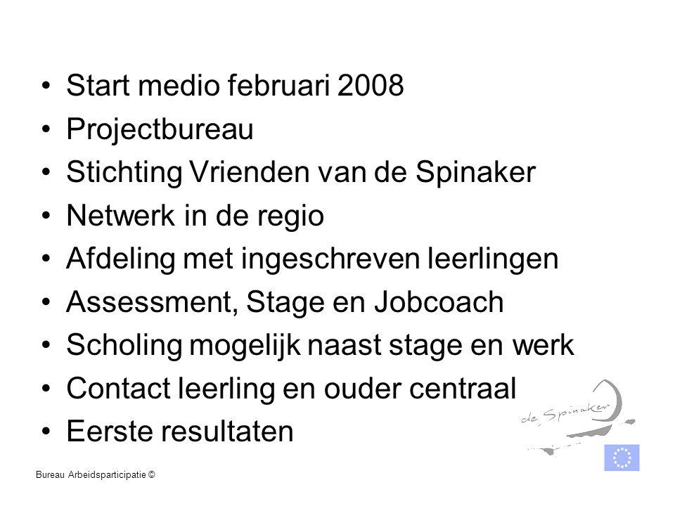 Start medio februari 2008 Projectbureau Stichting Vrienden van de Spinaker Netwerk in de regio Afdeling met ingeschreven leerlingen Assessment, Stage
