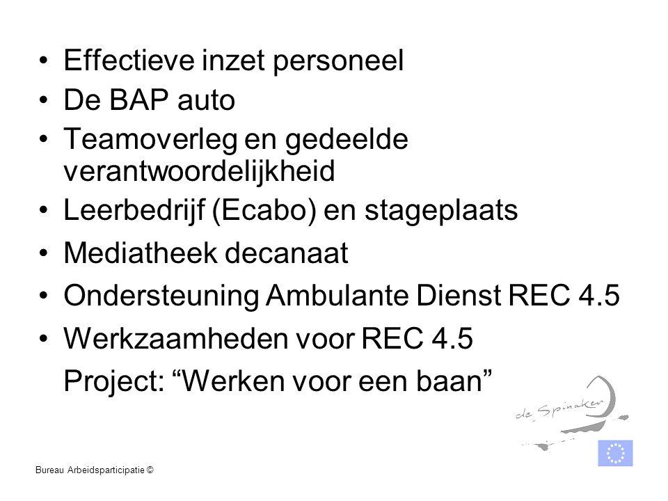 Effectieve inzet personeel De BAP auto Teamoverleg en gedeelde verantwoordelijkheid Leerbedrijf (Ecabo) en stageplaats Mediatheek decanaat Ondersteuni