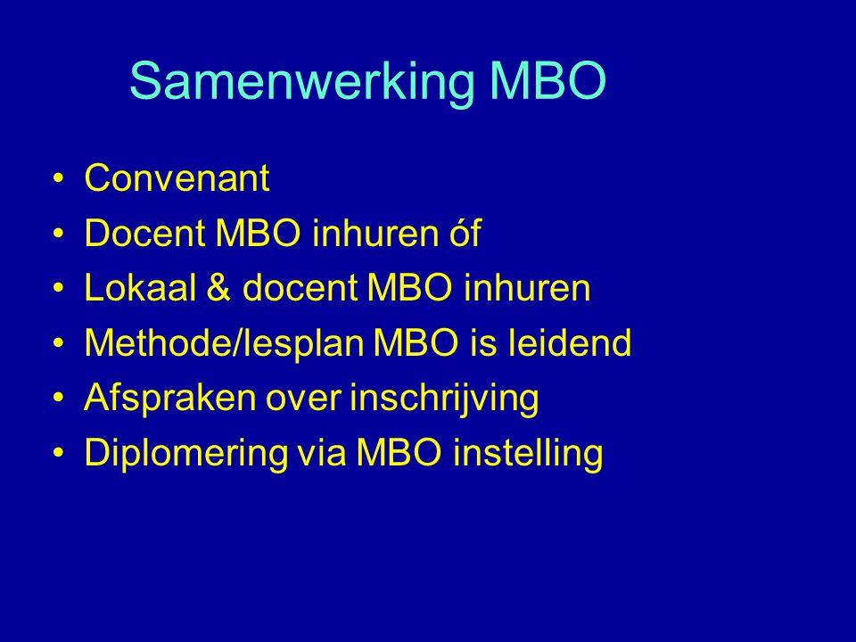 Samenwerking MBO Convenant Docent MBO inhuren óf Lokaal & docent MBO inhuren Methode/lesplan MBO is leidend Afspraken over inschrijving Diplomering vi