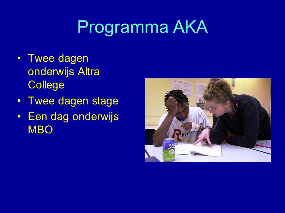 Programma AKA Twee dagen onderwijs Altra College Twee dagen stage Een dag onderwijs MBO