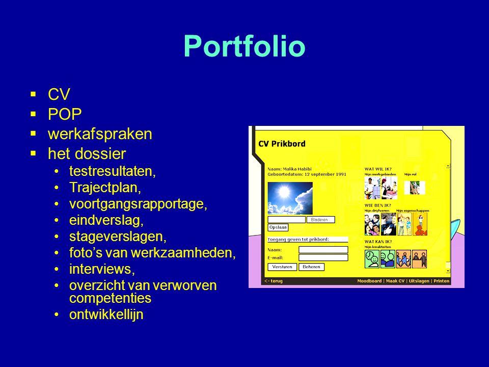 Portfolio  CV  POP  werkafspraken  het dossier testresultaten, Trajectplan, voortgangsrapportage, eindverslag, stageverslagen, foto's van werkzaam