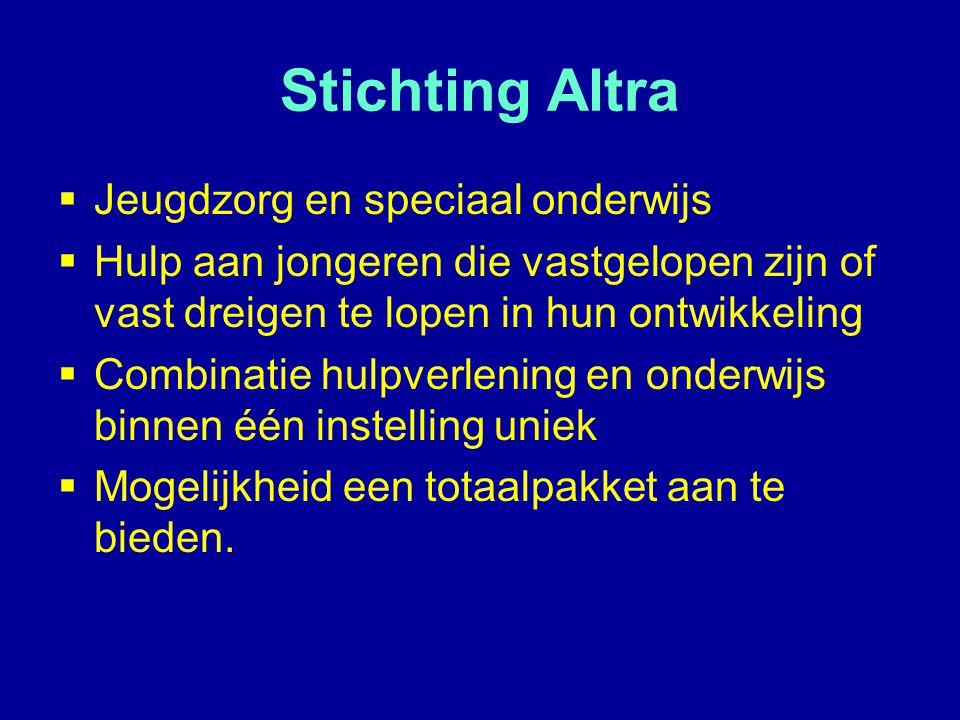 Stichting Altra  Jeugdzorg en speciaal onderwijs  Hulp aan jongeren die vastgelopen zijn of vast dreigen te lopen in hun ontwikkeling  Combinatie h