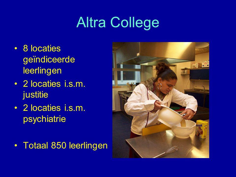 Altra College 8 locaties geïndiceerde leerlingen 2 locaties i.s.m. justitie 2 locaties i.s.m. psychiatrie Totaal 850 leerlingen
