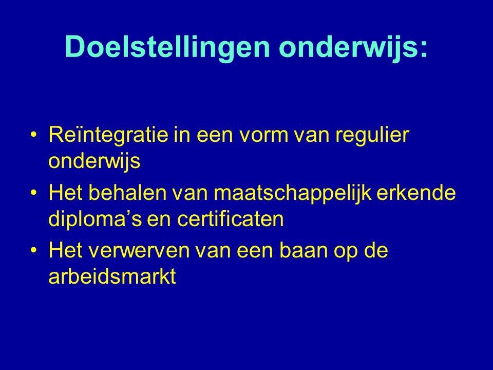 Doelstellingen onderwijs: Reïntegratie in een vorm van regulier onderwijs Het behalen van maatschappelijk erkende diploma's en certificaten Het verwer