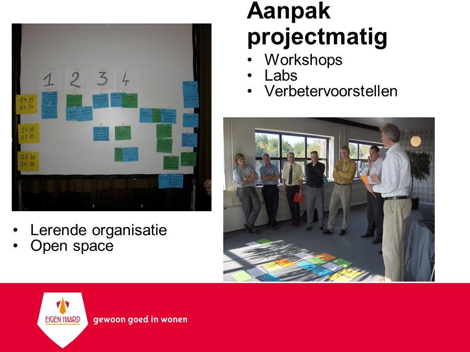 Aanpak projectmatig Lerende organisatie Open space Workshops Labs Verbetervoorstellen