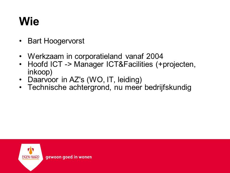 Eigen Haard Algemeen Fusieorganisatie 45000 VHE s Amsterdam + omstreken Centraal gestuurd Functionele inrichting 100 Jaar ca 400 medewerkers