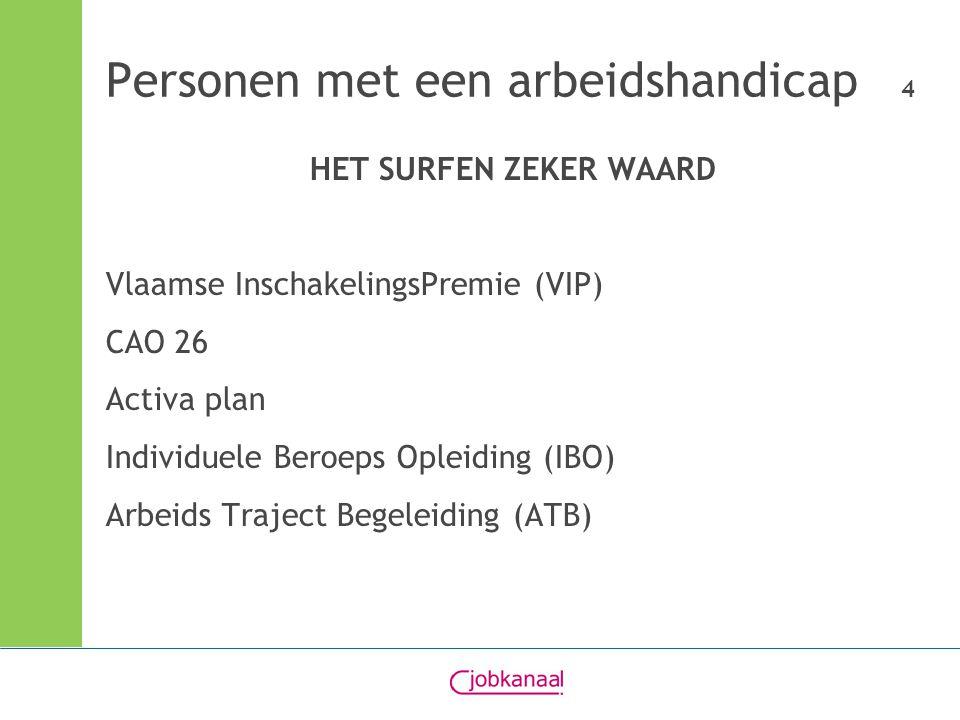 Personen met een arbeidshandicap 4 HET SURFEN ZEKER WAARD Vlaamse InschakelingsPremie (VIP) CAO 26 Activa plan Individuele Beroeps Opleiding (IBO) Arbeids Traject Begeleiding (ATB)