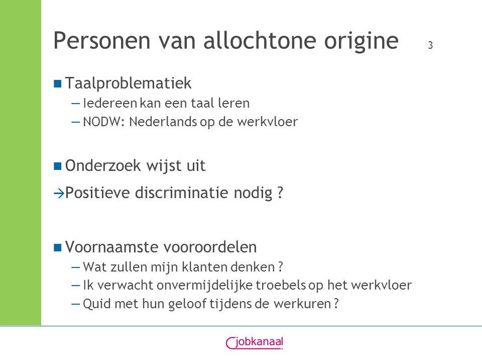 Personen van allochtone origine 3 Taalproblematiek —Iedereen kan een taal leren —NODW: Nederlands op de werkvloer Onderzoek wijst uit  Positieve discriminatie nodig .