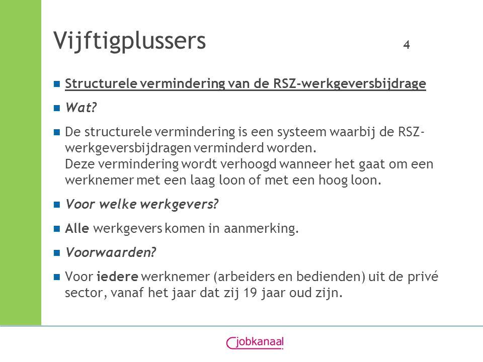 Vijftigplussers 4 Structurele vermindering van de RSZ-werkgeversbijdrage Wat? De structurele vermindering is een systeem waarbij de RSZ- werkgeversbij