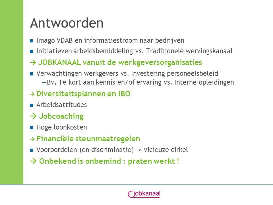 Antwoorden Imago VDAB en informatiestroom naar bedrijven Initiatieven arbeidsbemiddeling vs. Traditionele wervingskanaal  JOBKANAAL vanuit de werkgev