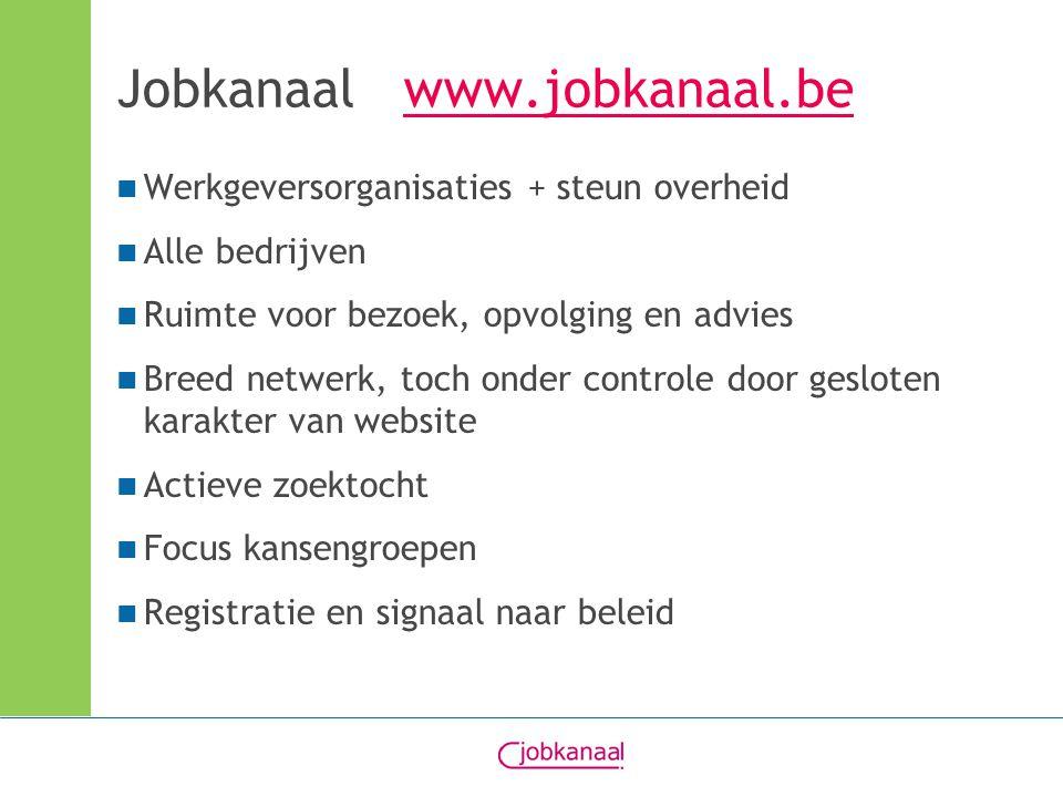 Jobkanaal www.jobkanaal.bewww.jobkanaal.be Werkgeversorganisaties + steun overheid Alle bedrijven Ruimte voor bezoek, opvolging en advies Breed netwerk, toch onder controle door gesloten karakter van website Actieve zoektocht Focus kansengroepen Registratie en signaal naar beleid