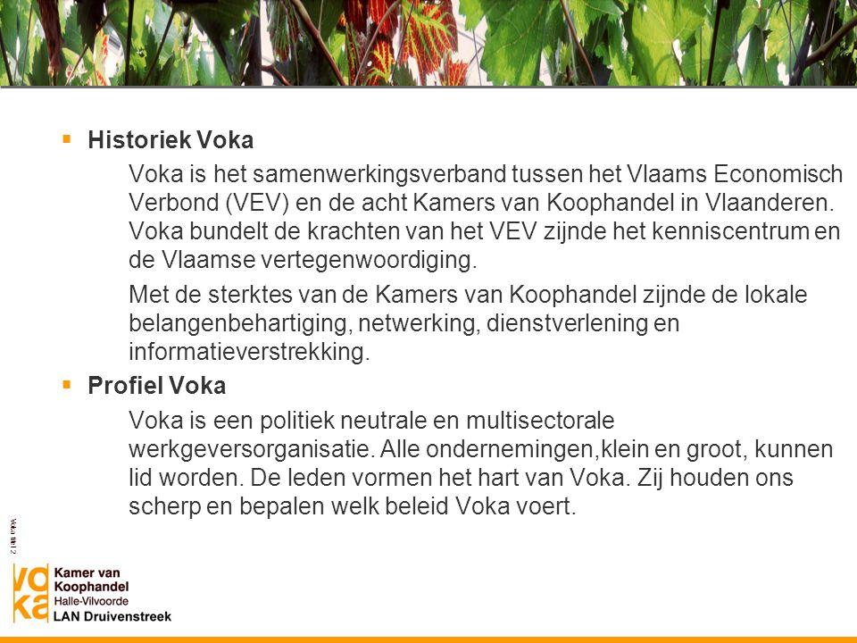 Voka titel 2  Historiek Voka Voka is het samenwerkingsverband tussen het Vlaams Economisch Verbond (VEV) en de acht Kamers van Koophandel in Vlaander