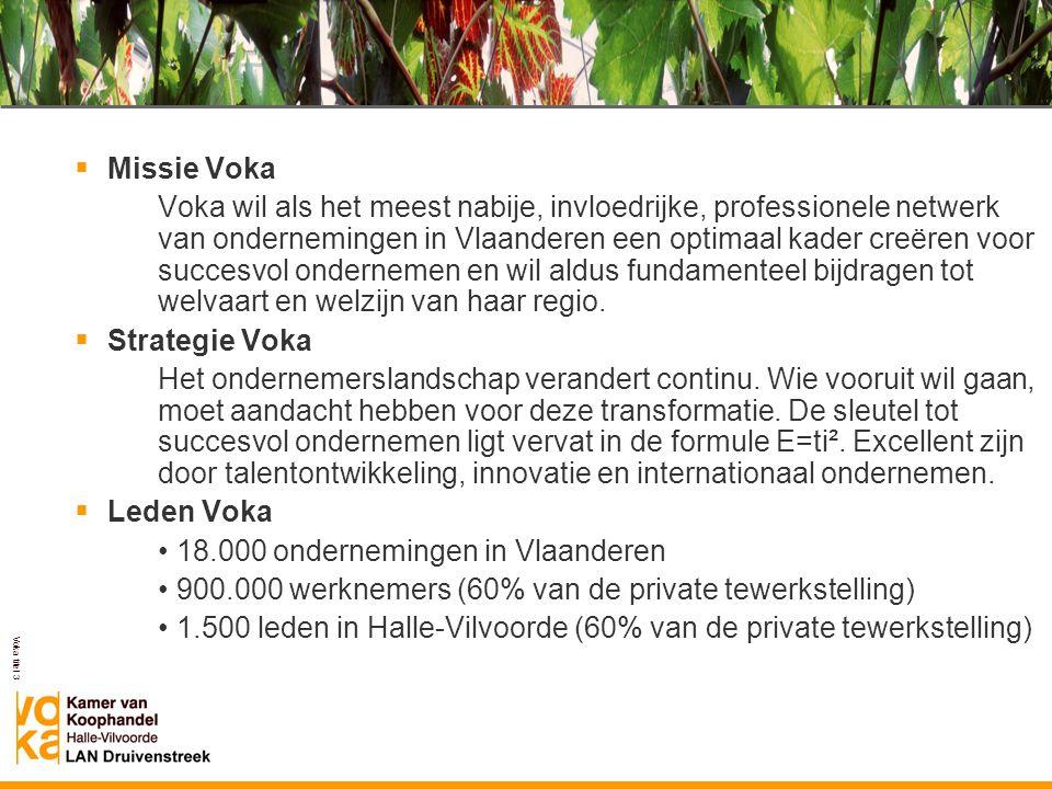 Voka titel 3  Missie Voka Voka wil als het meest nabije, invloedrijke, professionele netwerk van ondernemingen in Vlaanderen een optimaal kader creër