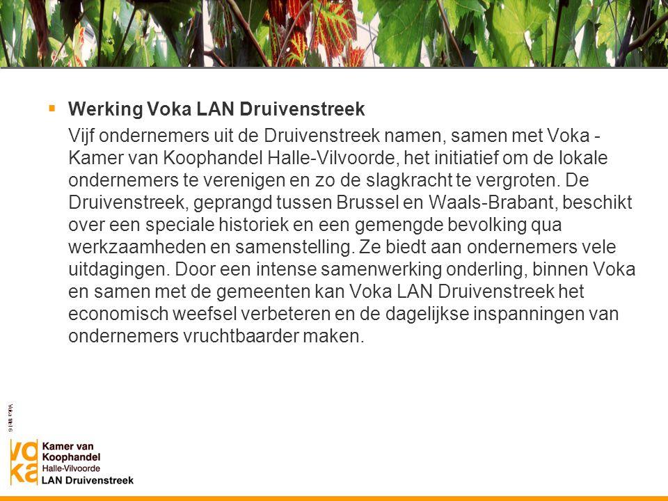 Voka titel 6  Werking Voka LAN Druivenstreek Vijf ondernemers uit de Druivenstreek namen, samen met Voka - Kamer van Koophandel Halle-Vilvoorde, het