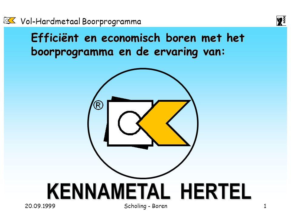 Vol-Hardmetaal Boorprogramma 20.09.1999Scholing - Boren1 Efficiënt en economisch boren met het boorprogramma en de ervaring van: KENNAMETAL HERTEL